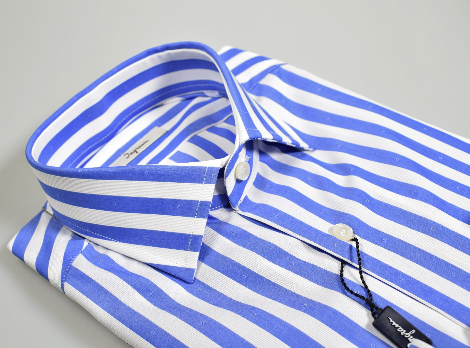 online store 12dc8 7a56d Dettagli su Camicia moda Ingram Slim Fit a righe Azzurro puro cotone collo  mezzo francese